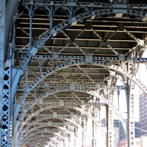 Subway Train Tracks near the Hudson River.