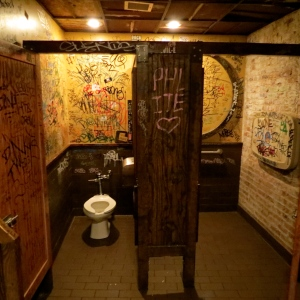 The men's room at Dinosaur Bar-B-Que.