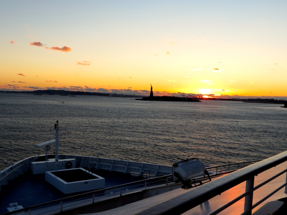 Approaching New York Harbor and the Statue of Liberty.