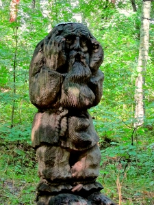 One of the hand-carved statues on Witches Hill.