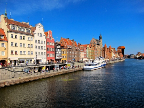 The Motlawa River. In the distance (right) you can see the medieval Gdansk Crane.