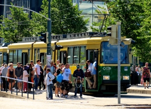 Thousands of residents travel each day by the Helskini trams.