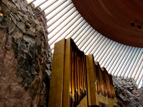 Inside the Temppeliaukio Church, also know as the Church of the Rock.