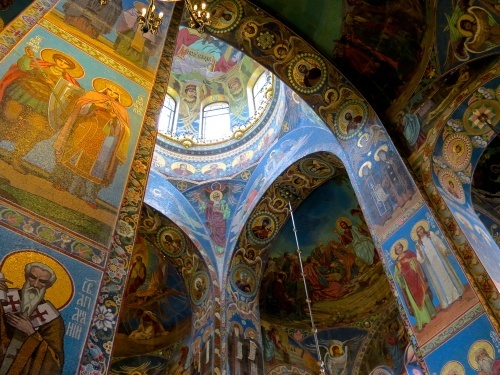 Looking up in the Church of the Spilled Blood.