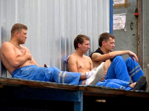 Russian workers taking a break along the canal.