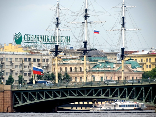 On the canal in Saint Petersburg, Russia.