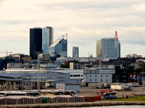 The skyline of modern Tallinn, viewed to the left from our ship.