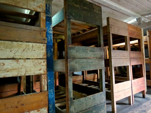 Rows of bunks crammed into the barracks. Many prisoners were forced to sleep on top of each other on the floor.