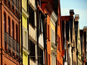 I love the color and lines of the buildings in Gdansk.