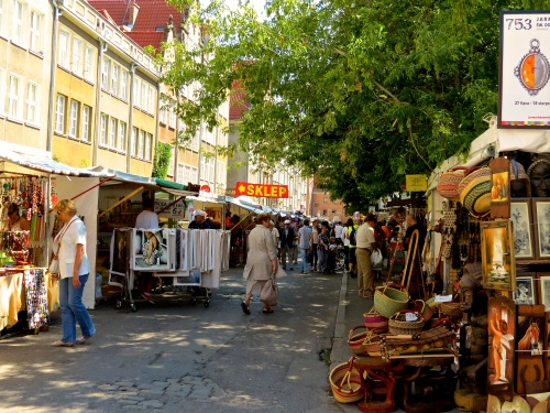 The seasonal open air market in the streets of Gdansk.