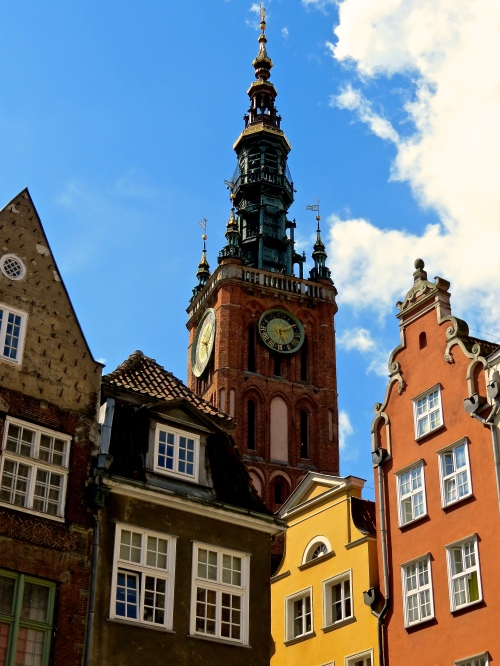 The Town Hall Tower rising about the city of Gdansk.