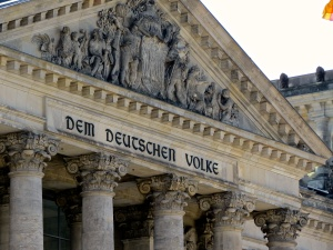 A close up of the Reichstag Building.