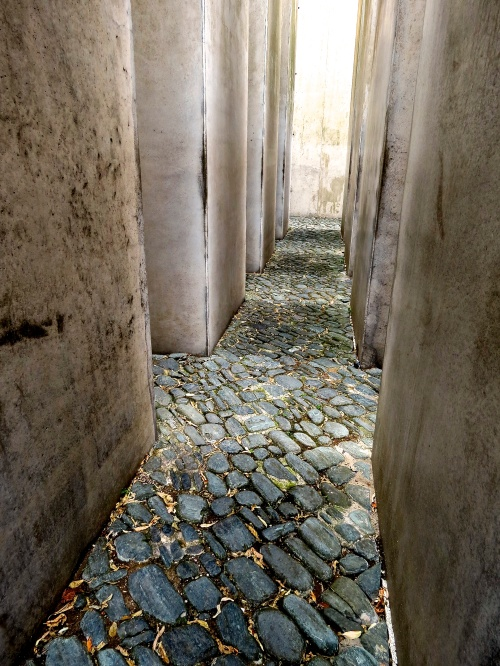 Walking through the Garden of Exile in the Jewish Museum, Berlin.