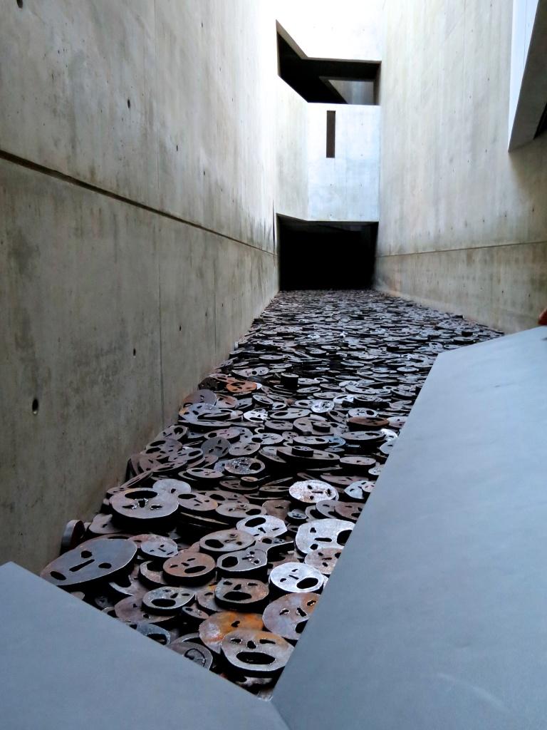 """Inside Libeskind's, """"Memory Void"""". The exhibit, Shalekhet- Fallen Leaves."""