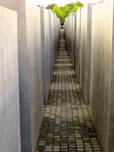 Inside the grid of the Holocaust Memorial.
