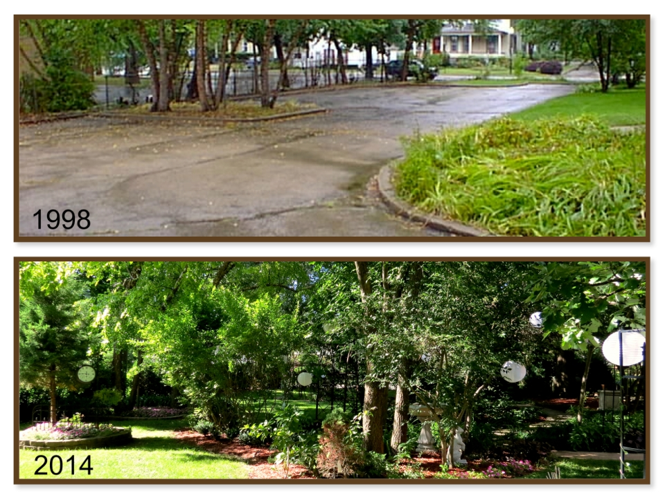 From parking lot to paradise. The transformation of the west side yard at 321 Division Street.