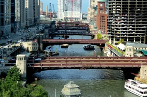 A view of the bridges over the Chicago River from my hotel room.