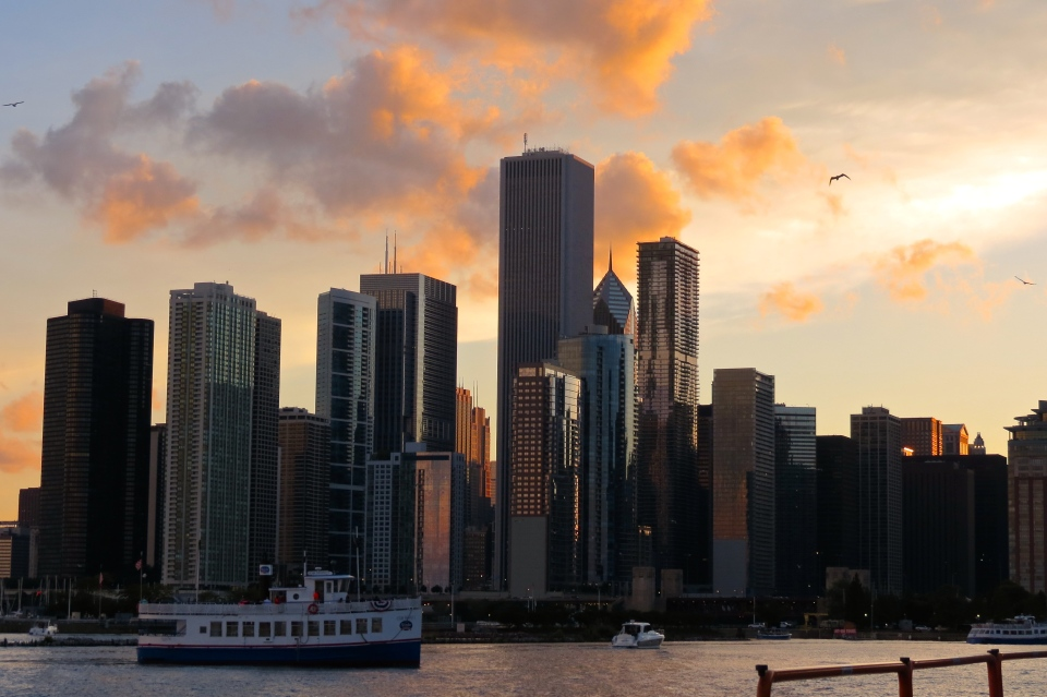 The Chicago skyline at sunset.