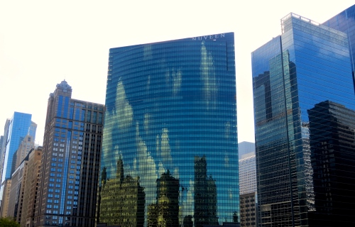 Reflections on the Chicago River.