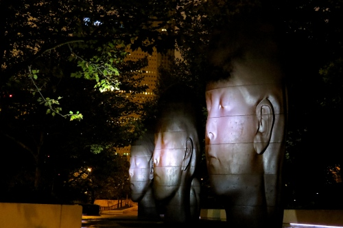 Statues by Jaume Plensa in Millennium Park at 5 am.