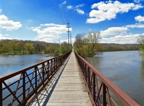 Biking across the Fox River, north of St. Charles on the Fox River Trail.