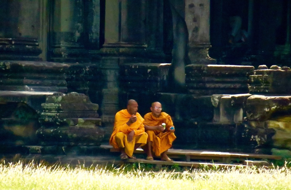 Monks can be seen throughout Angkor Wat.