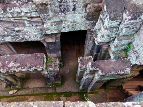 Looking down in the maze of pathways at Angkor Thom.