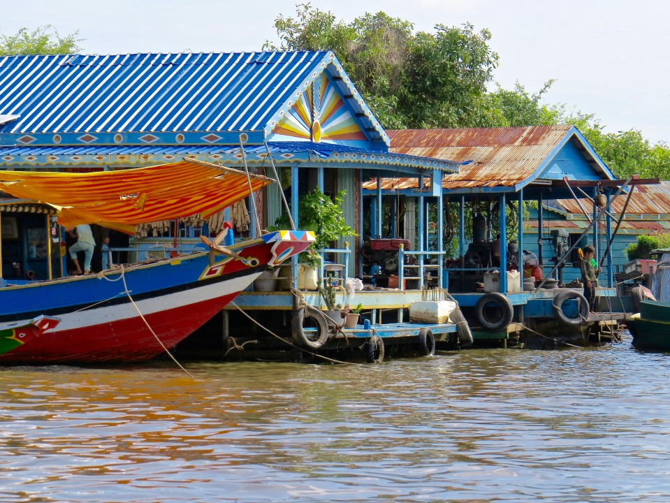 The floating village on Tonle Sap Lake.