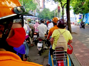 On the Vespa tour of Ho Chi Minh City.
