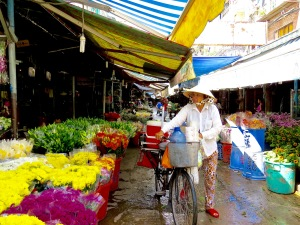 The flower market in Ho Chi Minh City.