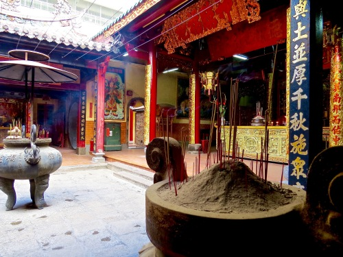 A temple courtyard in Saigon.