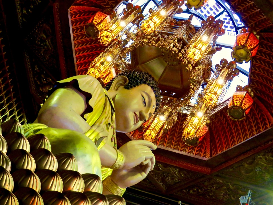 Inside one of the Buddhist temples in Ho Chi Minh City.