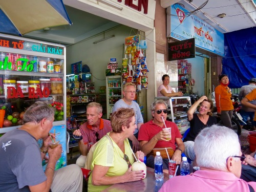 Our group taking a refreshment break during our tour.