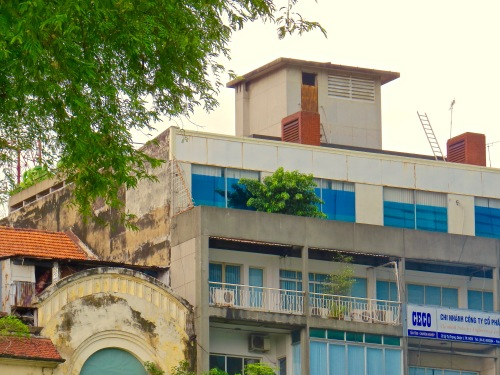The top of the old U.S. Embassy where the last helicopter flew people to safety during the fall of Saigon.
