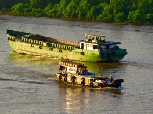 Along the Saigon River.