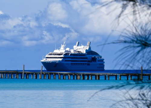Our ship, Le Soleal from the beach.