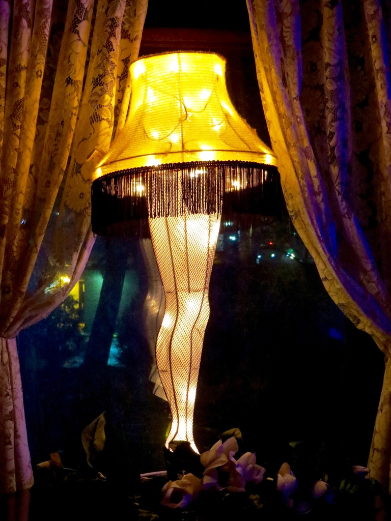 Our 'A Christmas Story' Leg Lamp in the window.