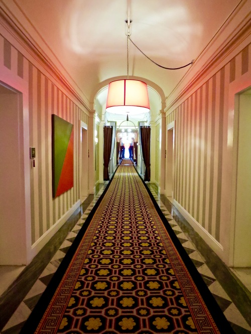 Looking down the corridor at the Hotel Monaco.