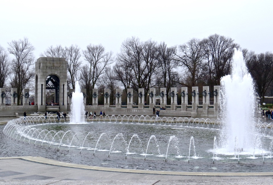 A view of the WWII Memorial on the National Mall in Washington D.C.