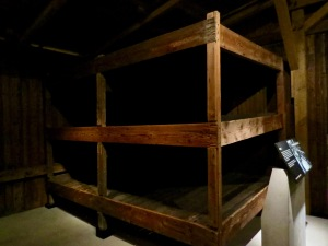 Authentic restored bunks from Auschwitz Concentration Camp.