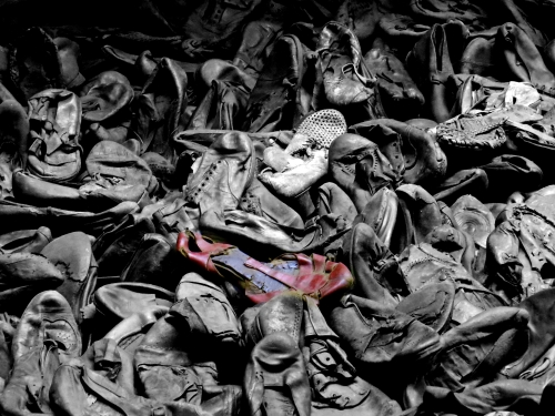 The exhibit Victims' Shoes in the United States Holocaust Museum.
