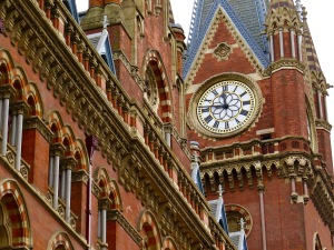 The restored clock at St. Pancras.