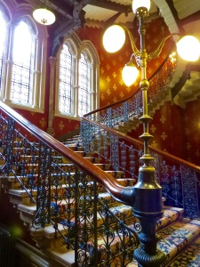 The Grand Staircase at the St. Pancras Renassaince Hotel London.