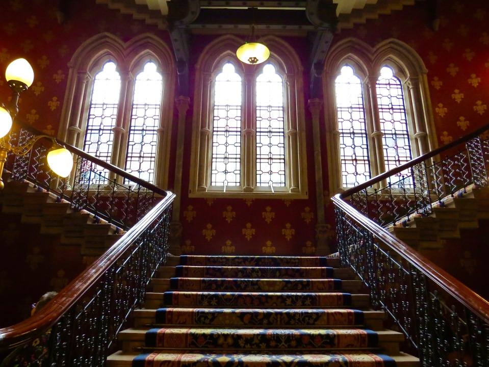 The grand staircase at St. Pancras Renaissance London Hotel.