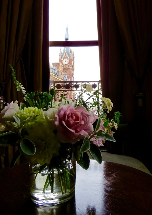 Fresh flowers and a view of the Clock Tower.