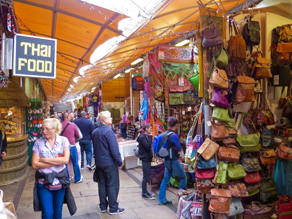 Outdoor stalls at London's Camden Market.