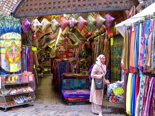 Exotic textiles at Camden Market.