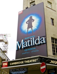 Matilda the musical at the Cambridge Theatre in Covent Garden.
