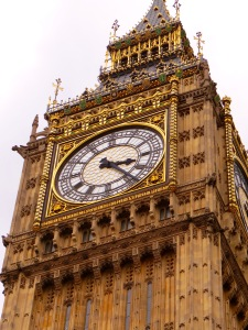 The clock of Elizabeth Tower that houses Big Ben.