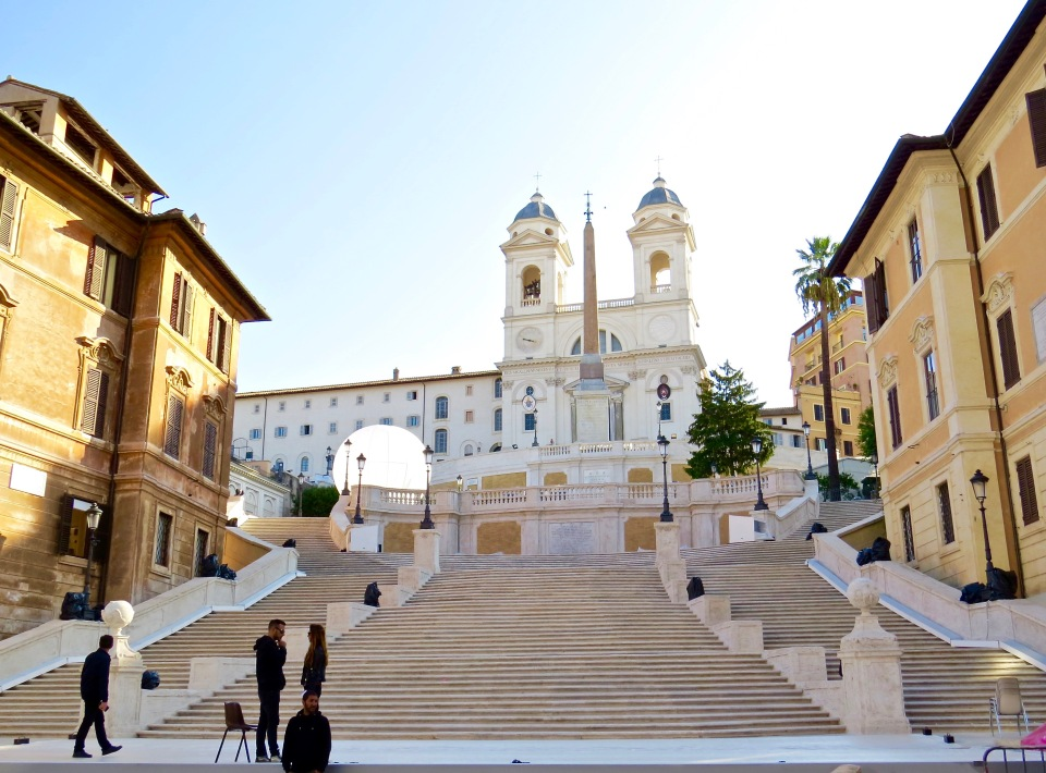 Looking at the Spanish Steps from the Piazza di Spagna. The Piazza Trinità dei Monti is at the top.